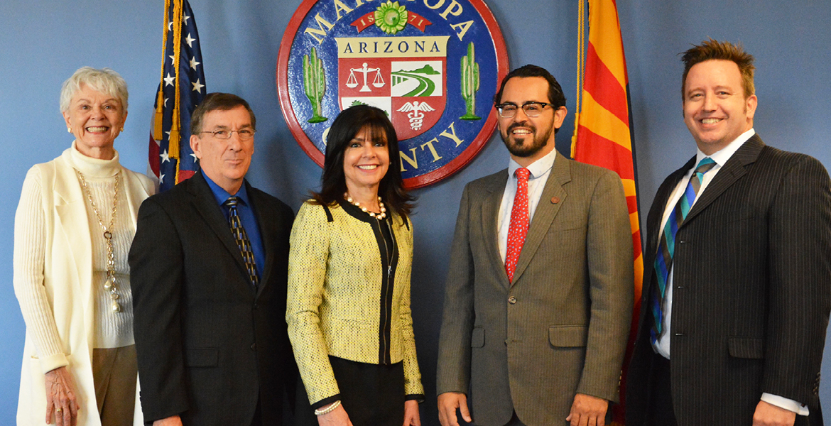 Photo of Chancellor Harper-Marinick and members of Maricopa Community Colleges Governing Board