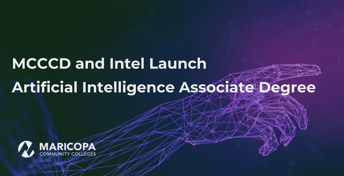 Navy blue and purple gradient background with illustrated artificial hand and the words MCCCD and Intel Launch Intelligence Associate Program and MCCCD logo in white