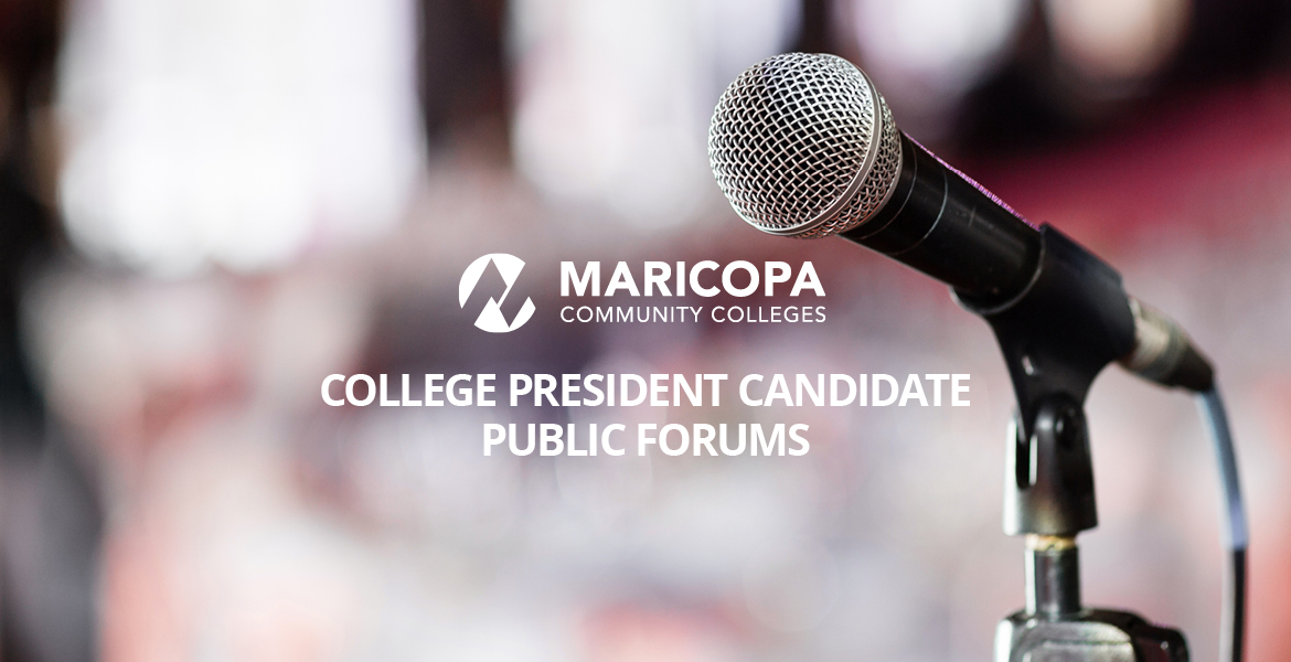 Photo of microphone with text beside it that reads College President Public Forums