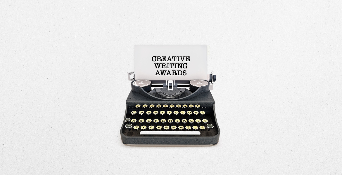 Typewriter with a piece of paper and the words Creative Writing Awards