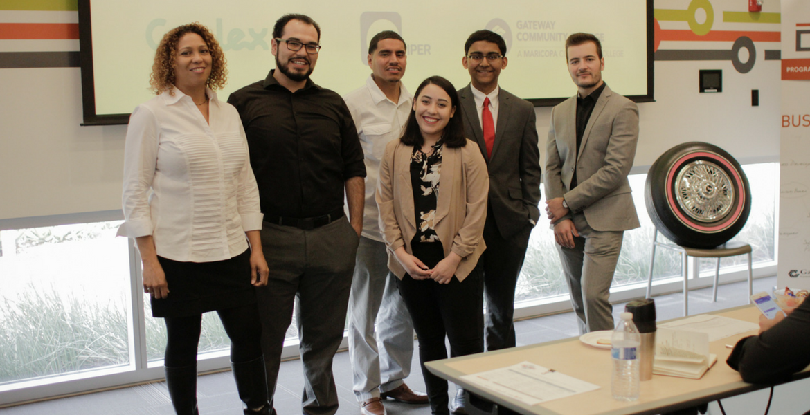 "Photograph of ""The Big Pitch"" challenge participants. From left to right: Charlotte Hazzard, Christopher Figueroa, Ronnie Ruiz, Sila Fryre, Joshua Pardhe, Sebastian Racha"