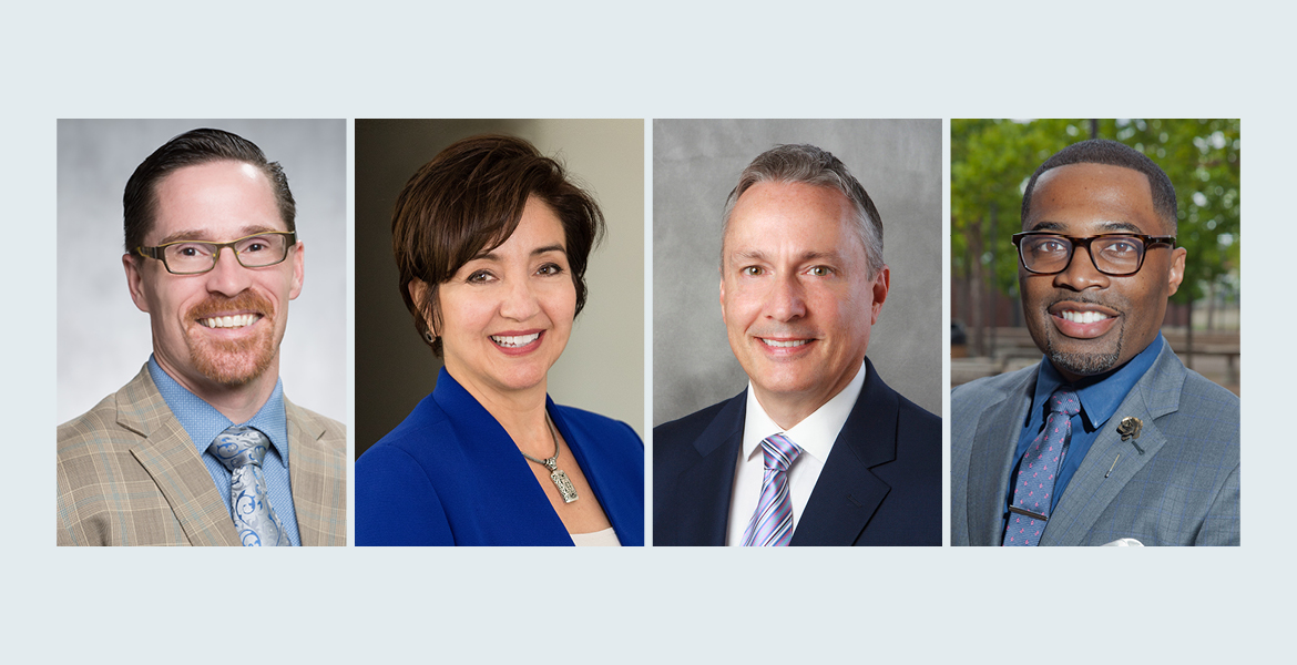 Images show left to right of Dr. Greg Peterson, Dr. Teresa Leyba-Ruiz, Dr. Richard Haney, Dr. Larry Johnson, Jr.