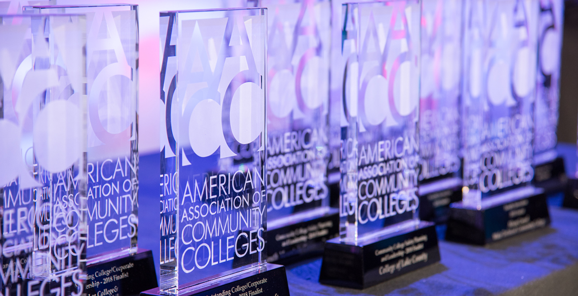 Image of multiple American Association of Community Colleges awards